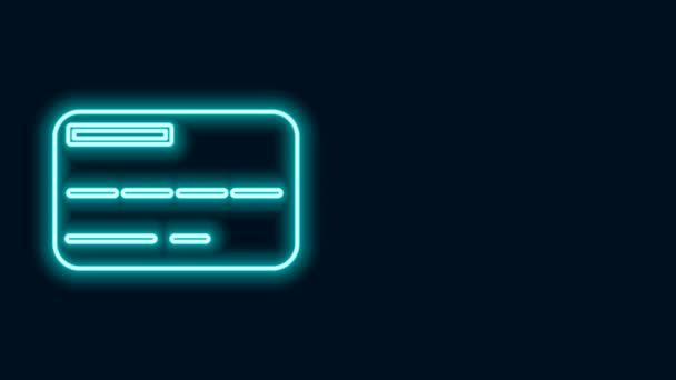 Ragyogó neon vonal Hitelkártya ikon elszigetelt fekete háttér. Online fizetés. Készpénzfelvétel. Pénzügyi műveletek. Bevásárlótábla. 4K Videó mozgás grafikus animáció
