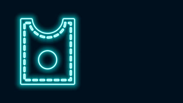 Glowing neon line Sewing Pattern icon isolated on black background. Markings for sewing. 4K Video motion graphic animation