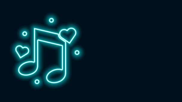 Glowing neon line Music note, tone with hearts icon isolated on black background. 4K Video motion graphic animation