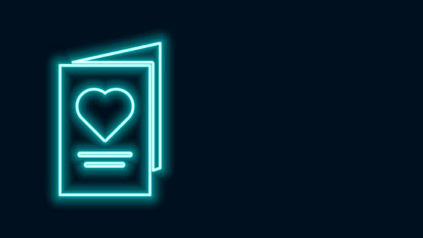 Ragyogó neon vonal Valentin napi party szórólap szív ikon elszigetelt fekete háttérrel. Ünnepi plakát sablon meghívó vagy üdvözlőlap. 4K Videó mozgás grafikus animáció