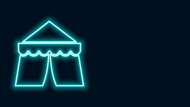 Leuchtendes Neon-Line-Zirkuszelt-Symbol isoliert auf schwarzem Hintergrund. Karnevalszelt. Freizeitpark. 4K Video Motion Grafik Animation