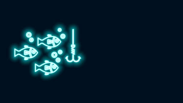 Leuchtende Leuchtleine Angelhaken unter Wasser mit Fischsymbol isoliert auf schwarzem Hintergrund. Angeln. 4K Video Motion Grafik Animation