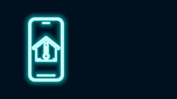 Leuchtende Leuchtschrift Mobiltelefon mit Haus Temperatur Symbol isoliert auf schwarzem Hintergrund. Thermometer-Symbol. 4K Video Motion Grafik Animation
