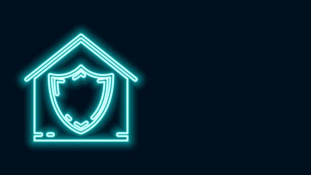 Ragyogó neon vonal Ház védelem alatt ikon elszigetelt fekete alapon. Védelem, biztonság, védelem, védelem, védelem. 4K Videó mozgás grafikus animáció