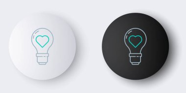 Line Heart shape in a light bulb icon isolated on grey background. Love symbol. Valentine day symbol. Colorful outline concept. Vector. icon