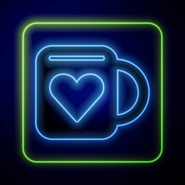 Glowing neon Coffee cup and heart icon isolated on blue background. Couple coffee for lovers on Valentines Day.  Vector. icon