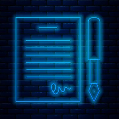 Glowing neon line Marriage contract icon isolated on brick wall background. Wedding certificate.  Vector. icon