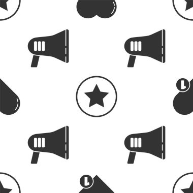 Set Like and heart, Star and Megaphone on seamless pattern. Vector. icon