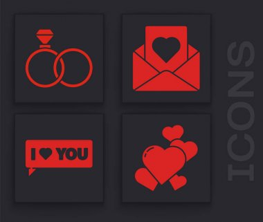 Set Heart, Wedding rings, Envelope with heart and Speech bubble with I love you icon. Vector. icon