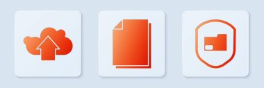 Set Document, Cloud upload and Document folder protection. White square button. Vector. icon
