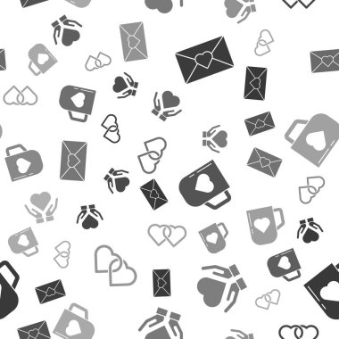 Set Envelope with Valentine heart, Heart on hand, Coffee cup and heart and Two Linked Hearts on seamless pattern. Vector. icon