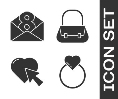 Set Wedding rings, Envelope with 8 March, Heart and cursor click and Handbag icon. Vector. icon