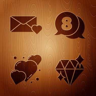 Set Diamond, Envelope with 8 March, Heart and 8 March in speech bubble on wooden background. Vector. icon