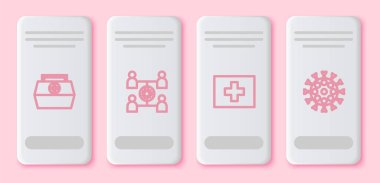 Set line First aid kit, Virus spread,  and . White rectangle button. Vector. icon