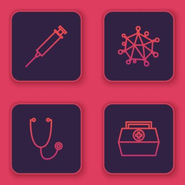 Set line Syringe, Stethoscope, Virus and First aid kit. Blue square button. Vector. icon