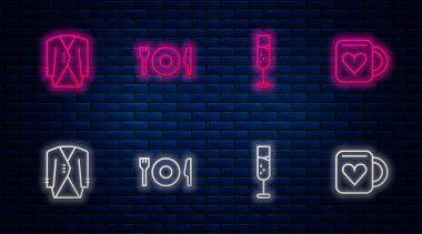 Set line Plate, fork and knife, Glass of champagne, Suit and Coffee cup heart. Glowing neon icon on brick wall. Vector. icon