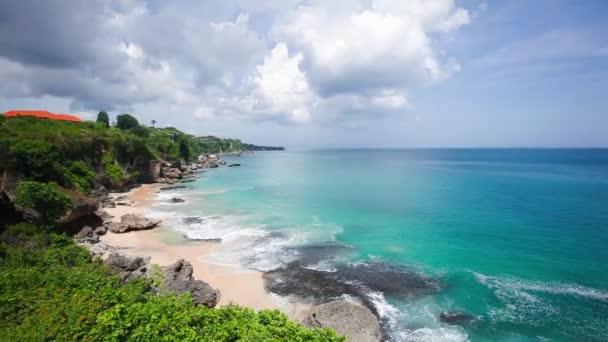 Amazing tropical coast and fantastic blue ocean waves