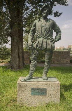 Badajoz, Spain - September the 3rd, 2018: Francisco Pizarro Spanish Conqueror of Inca Empire. Sculpture made by Estanislao Garcia