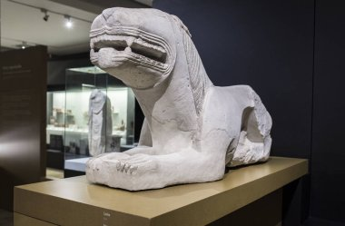 Cordoba, Spain - September the 7th, 2018: Iberian lion from Nueva Carteya at Archaeological and Ethnographic Museum of Cordoba