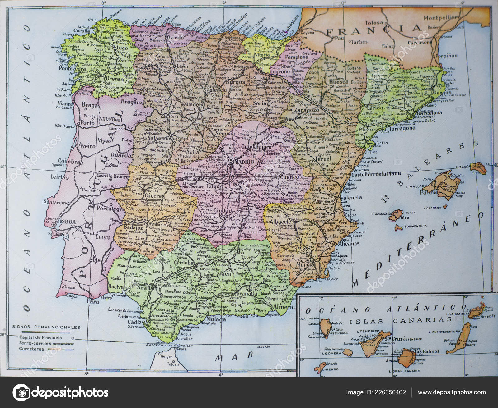 Spanish Map Of Spain.Vintage Administrative Map Spain Picture Book Enciclopedia