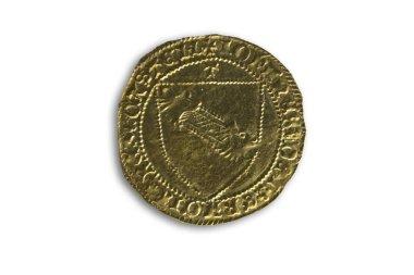 Cordoba, Spain - Dec 7th, 2018: John II of Castile (1406-1454) gold coin. Dobla de la Banda. Obverse and reverse. Cordoba Archaeological Museum, Spain