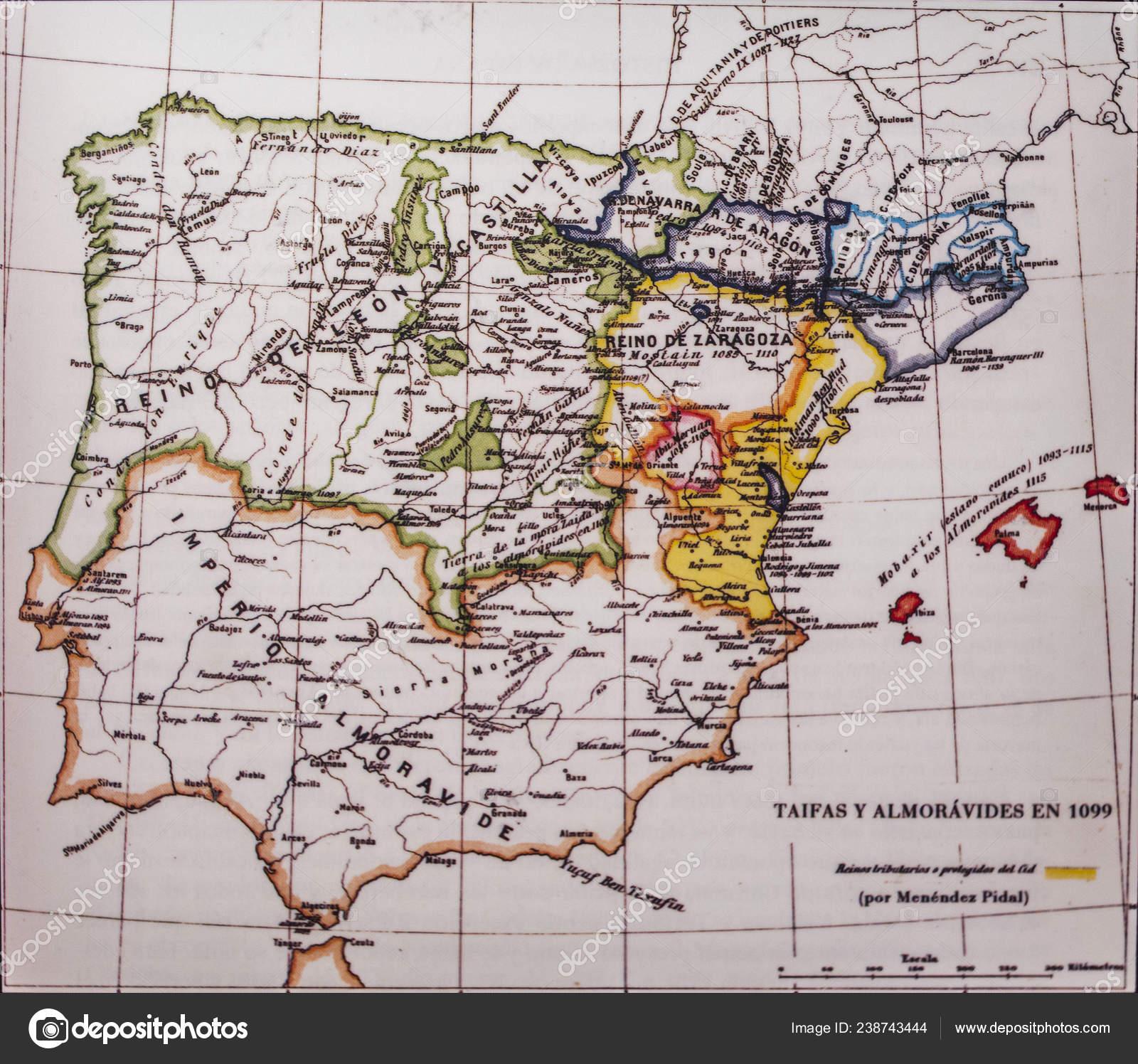 Badajoz Spain Dic 19Th 2018 Iberian Peninsula 1099 Map ... on jutland on map, al-andalus on map, tagus on map, katla volcano on map, cape trafalgar on map, empire on map, hungary on map, brazilian highlands on map, benelux on map, mediterranean sea on map, yucatan peninsula on map, alps on map, sahara desert on world map, volga river on map, kamchatka peninsula on map, european plain on map, philippines on map, river thames on map, italian peninsula on map, europe on map,