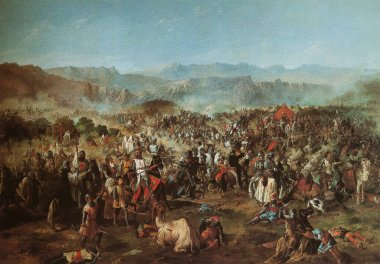 Battle of Las Navas de Tolosa. Painted by Francisco de Paula Van Halen in 1864. Senate Palace, Spain