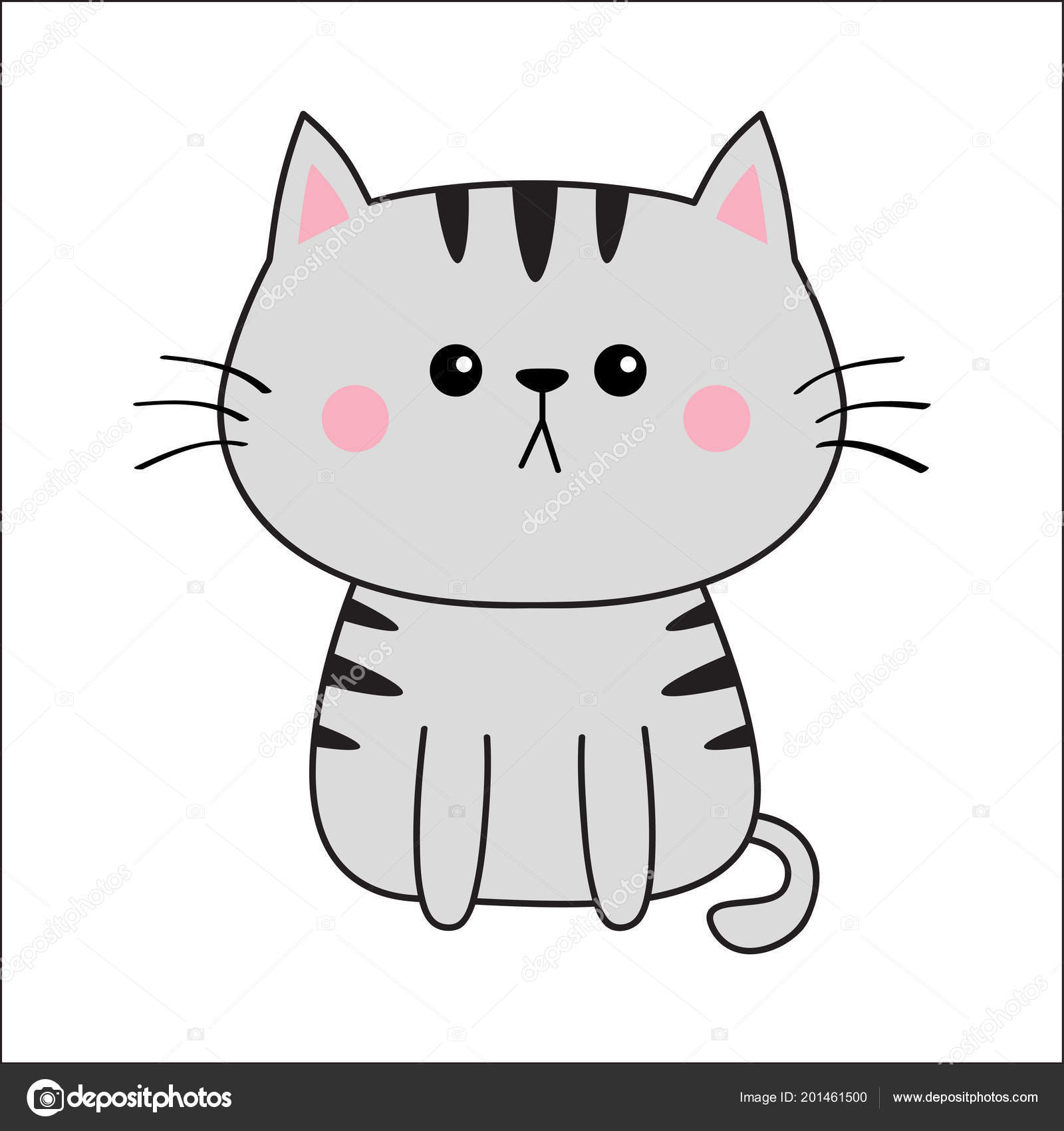 Linear Gray Cat Sad Head Face Silhouette Contour Line Cute Stock