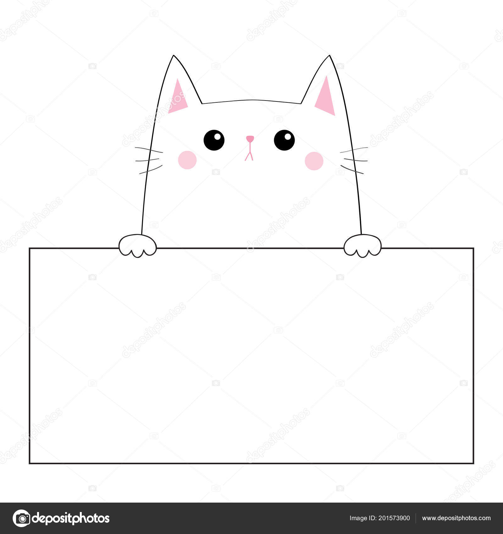 cat face head silhouette hanging on paper board template pink cheeeks paw hands contour line funny baby kitten cute cartoon kitty character