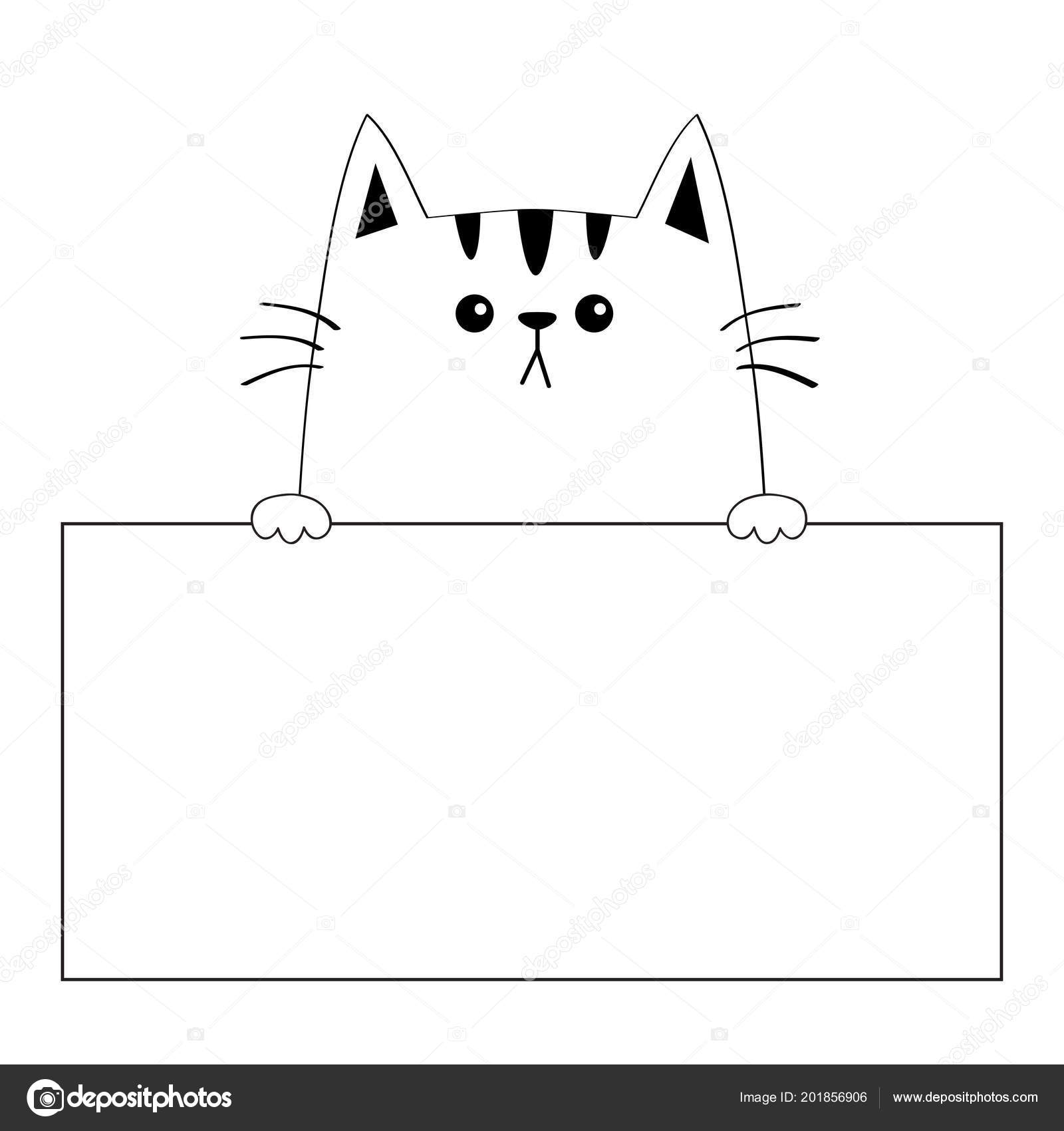 Cat Face Head Silhouette Hanging On Paper Board Template Paw Hands Contour Line Funny Baby Kitten Cute Cartoon Kitty Character Love Card