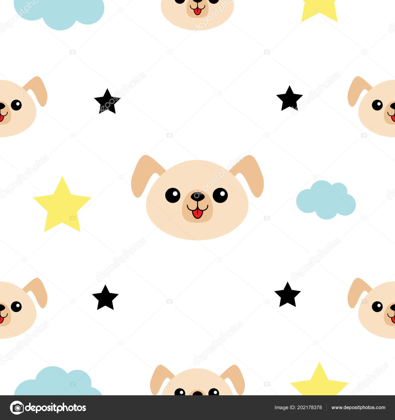 Dog Head Hands Cloud Star Shape Cute Cartoon Kawaii Character