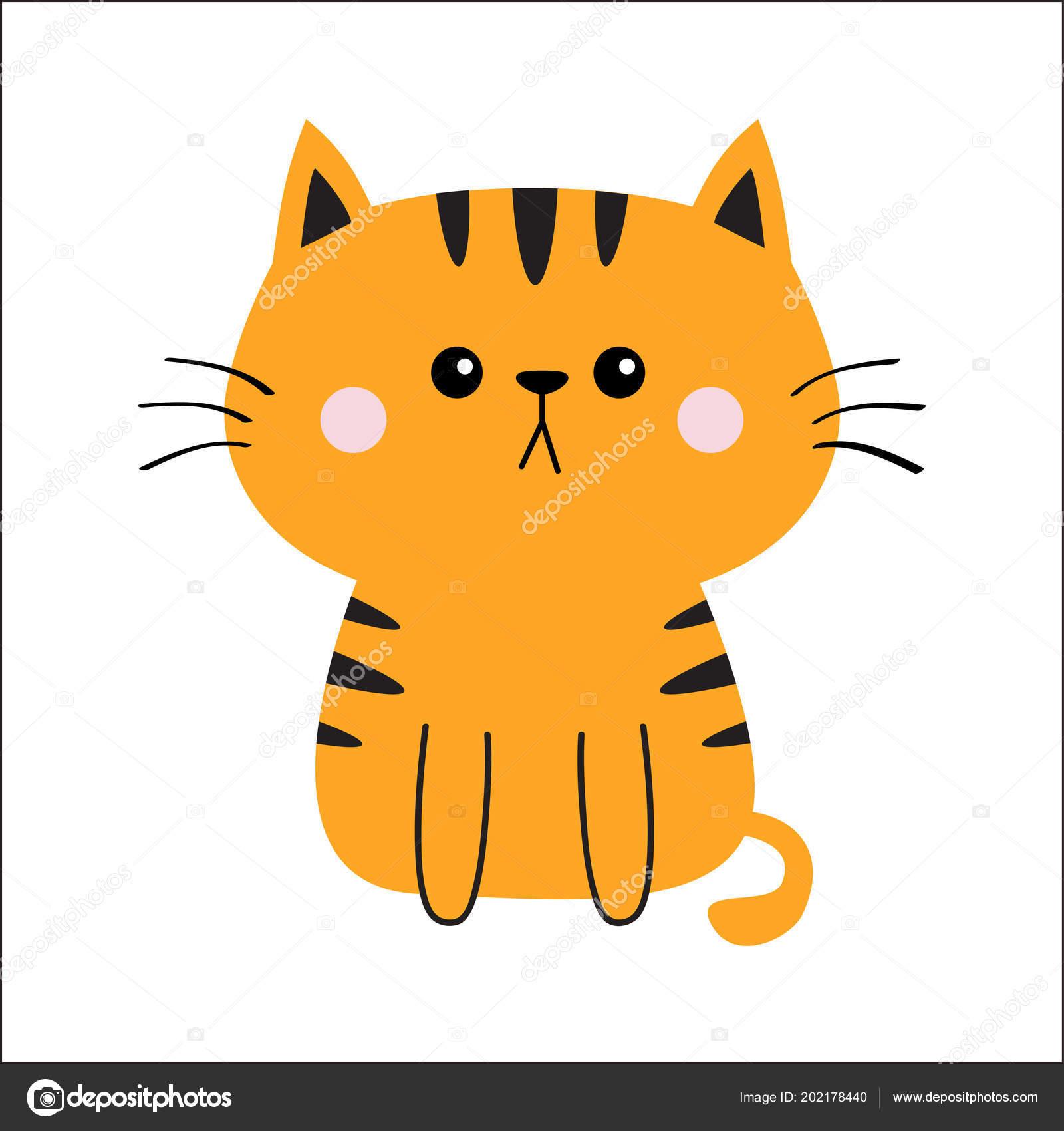 Silueta Cara Triste Cabeza Gato Color Naranja Rojo Dibujos Animados
