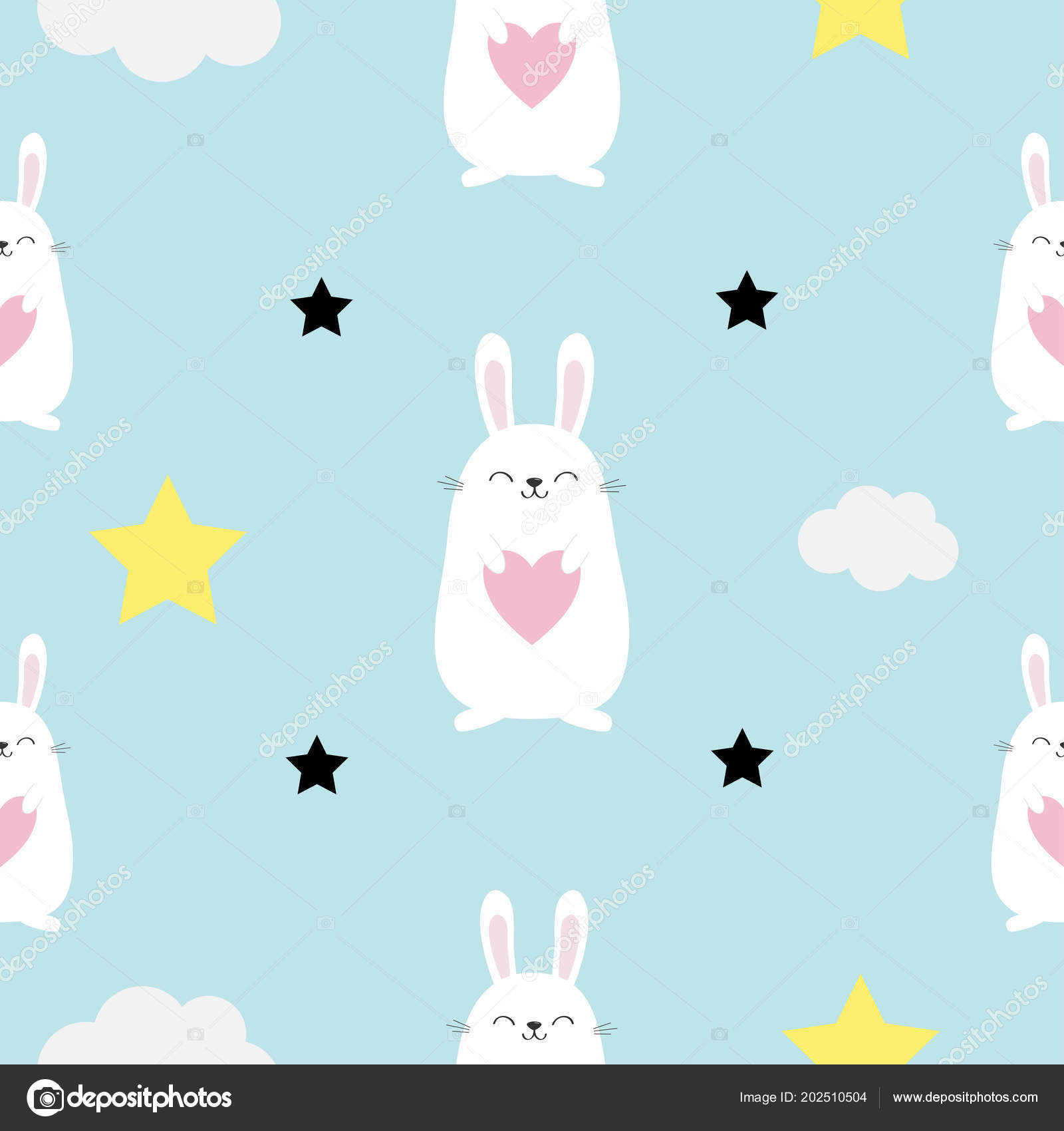 Seamless Pattern Rabbit Hare Head Heart Hands Cloud Star Shape