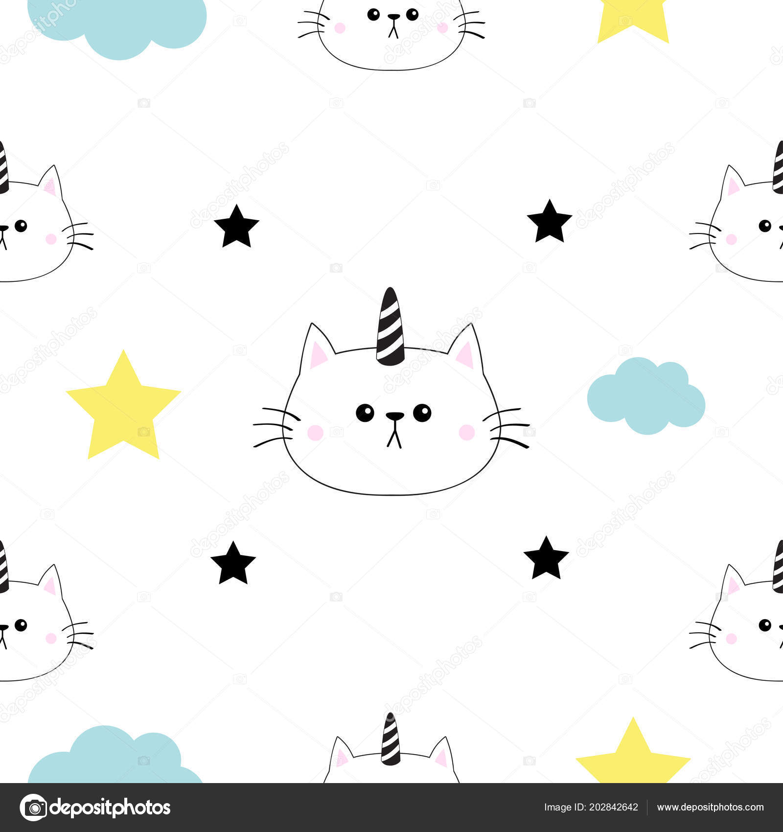 Cat Unicorn Horn Head Hands Cloud Star Shape Cute Cartoon Stock