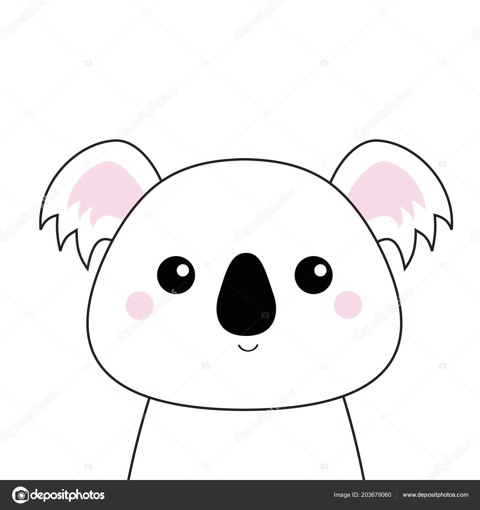 Koala Blanc Visage Silhouette Contour Noir Kawaii Animal Personnage