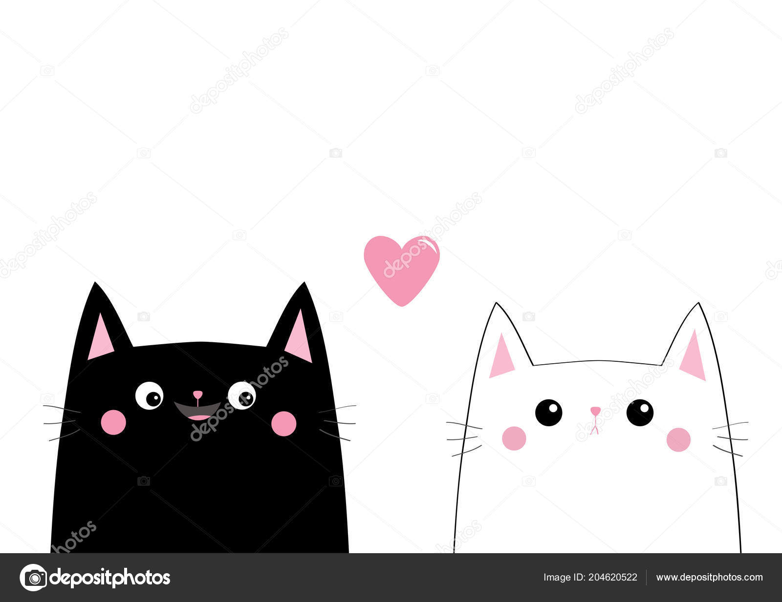Black White Cats Faces Love Couple Isolated White Stock Vector C Worldofvector 204620522