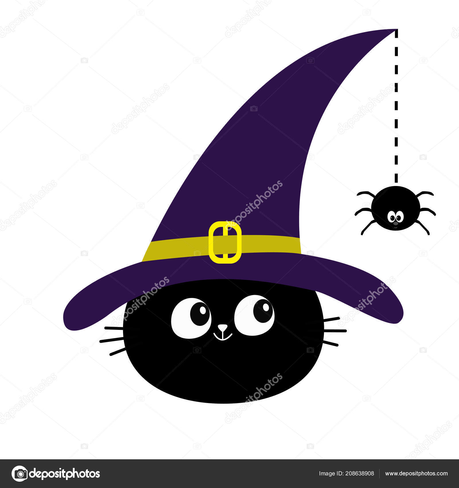 Black Cat Head Face Silhouette Looking Hanging Dash Line Web Stock Vector C Worldofvector 208638908