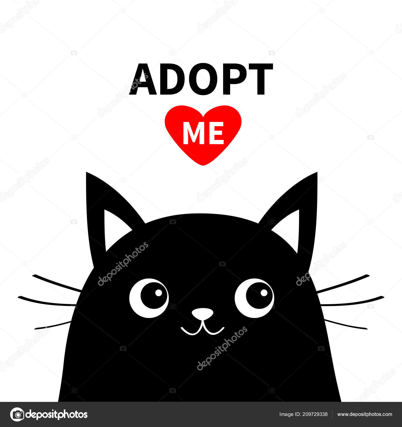 Adopt Dont Buy Black Cat Face Silhouette Red Heart Pet Stock