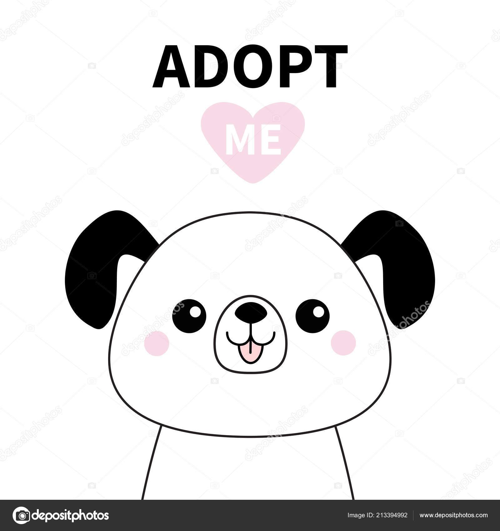 Silhouette Chien Mignon Visage Ligne Adoptez Moi Coeur Rose Adoption
