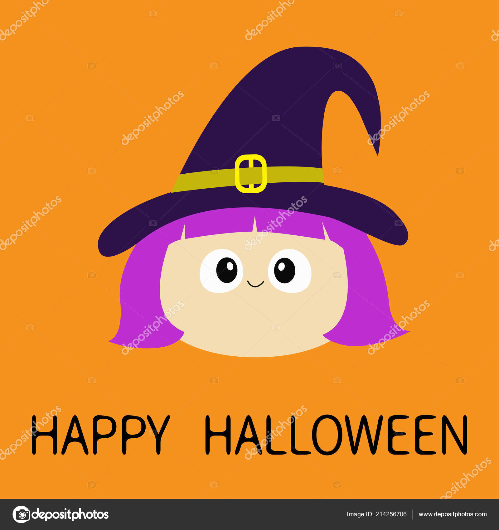 Halloween Cartoon Witch Face.Happy Halloween Witch Girl Face Wearing Curl Hat Cartoon Funny