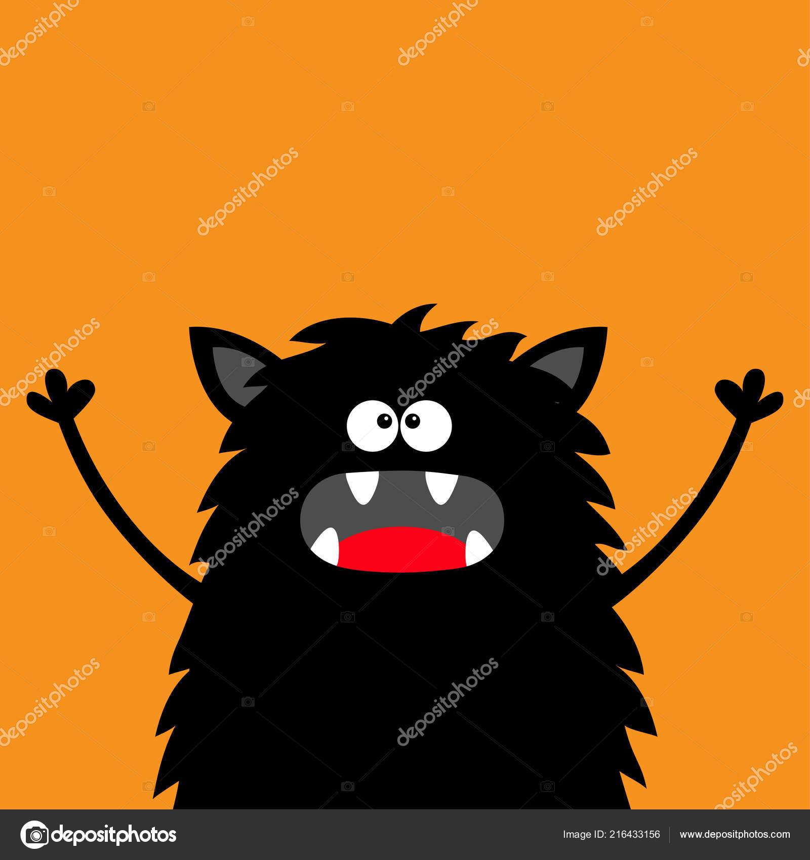 Cute Black Silhouette Monster Face Icon Happy Halloween Cartoon