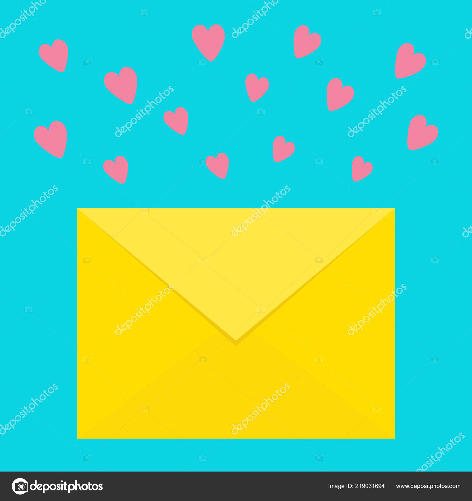 love letter template with pink flying hearts new message sign symbol unread notification flat design blue background isolated