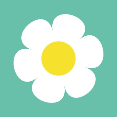 Daisy chamomile. Cute flower plant collection. White camomile icon. Love card. Growing concept. Flat design. Green background. Isolated. Vector illustration