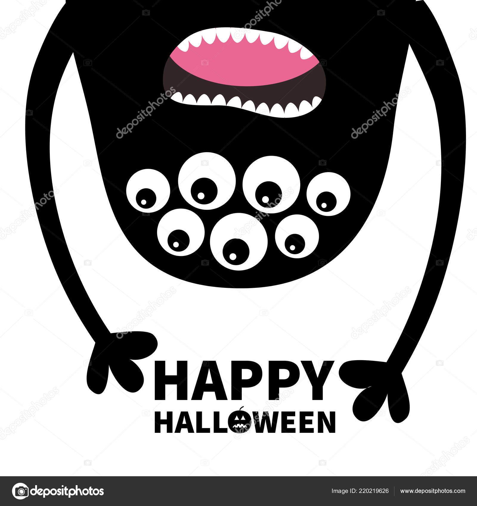 Happy Halloween Karte Schreiende Monster Kopf Silhouette Viele Augen
