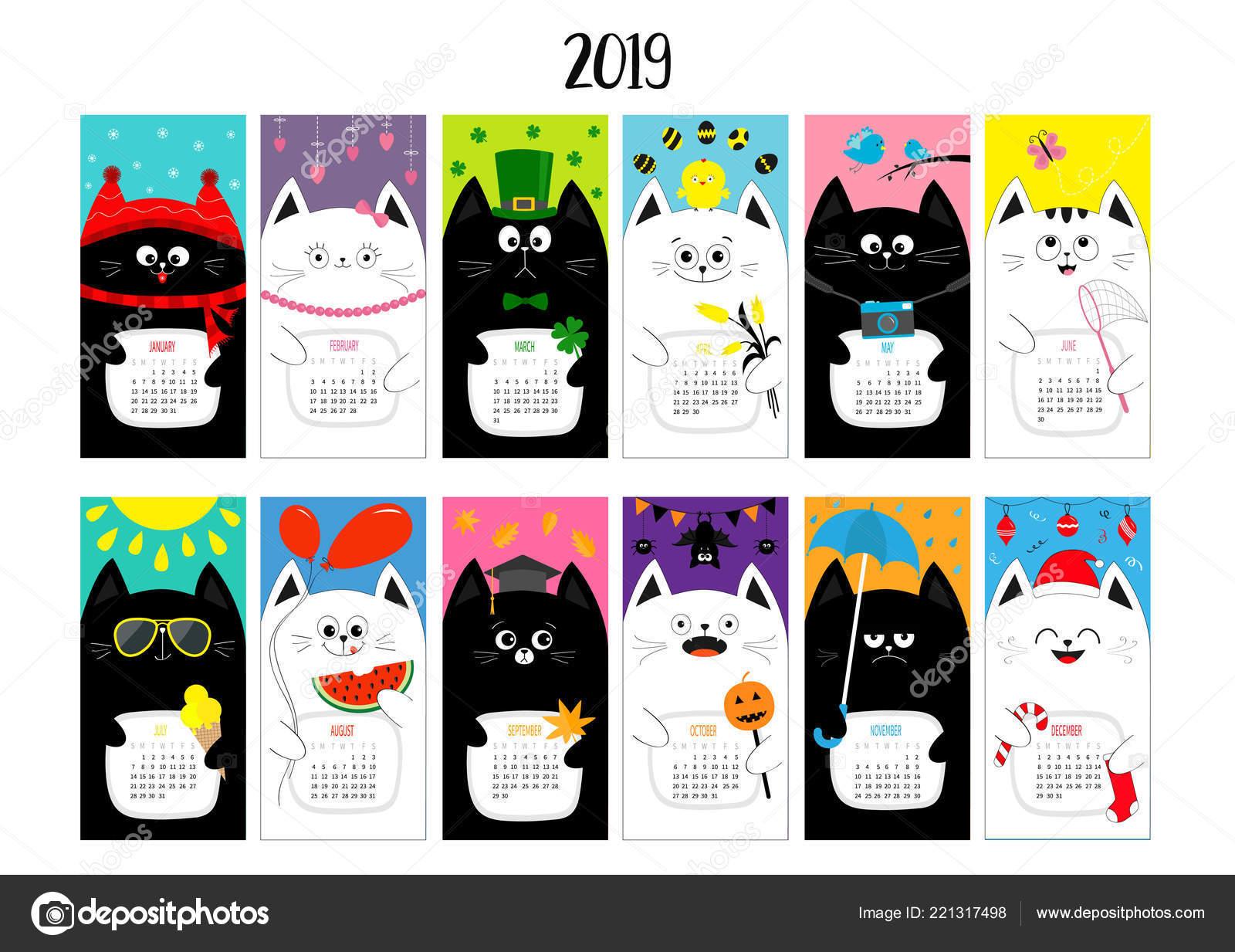Horizontale Monatliche Katzenkalender 2019 Susse Lustige Cartoon