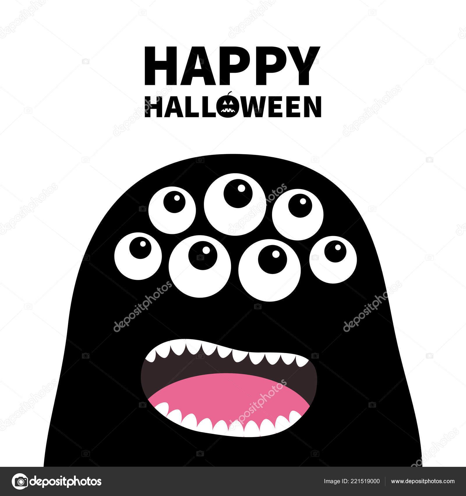 Fröhliches Halloween Schreiende Monster Kopf Silhouette Viele Augen