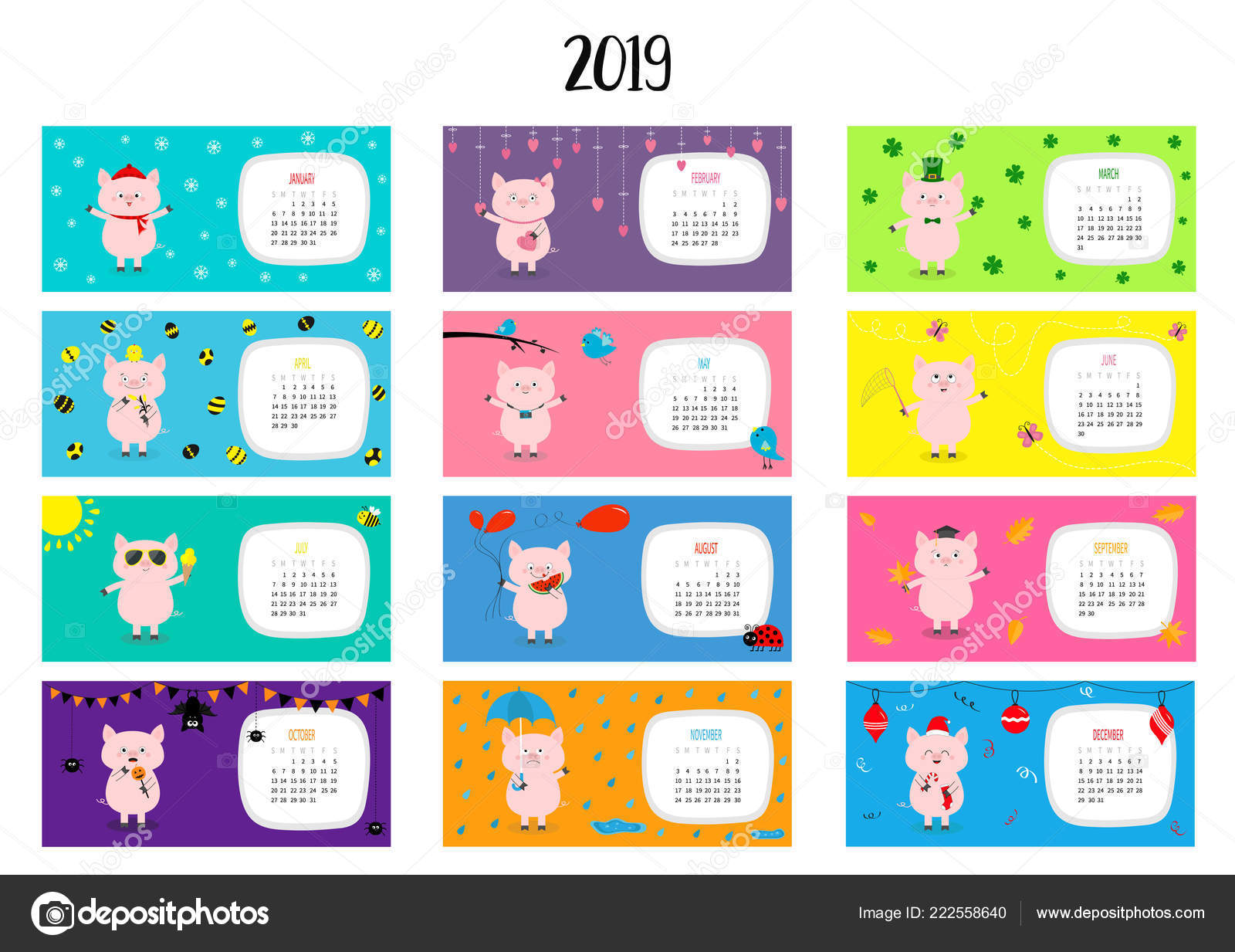Schwein Horizontale Monatskalender 2019 Susse Lustige Cartoon