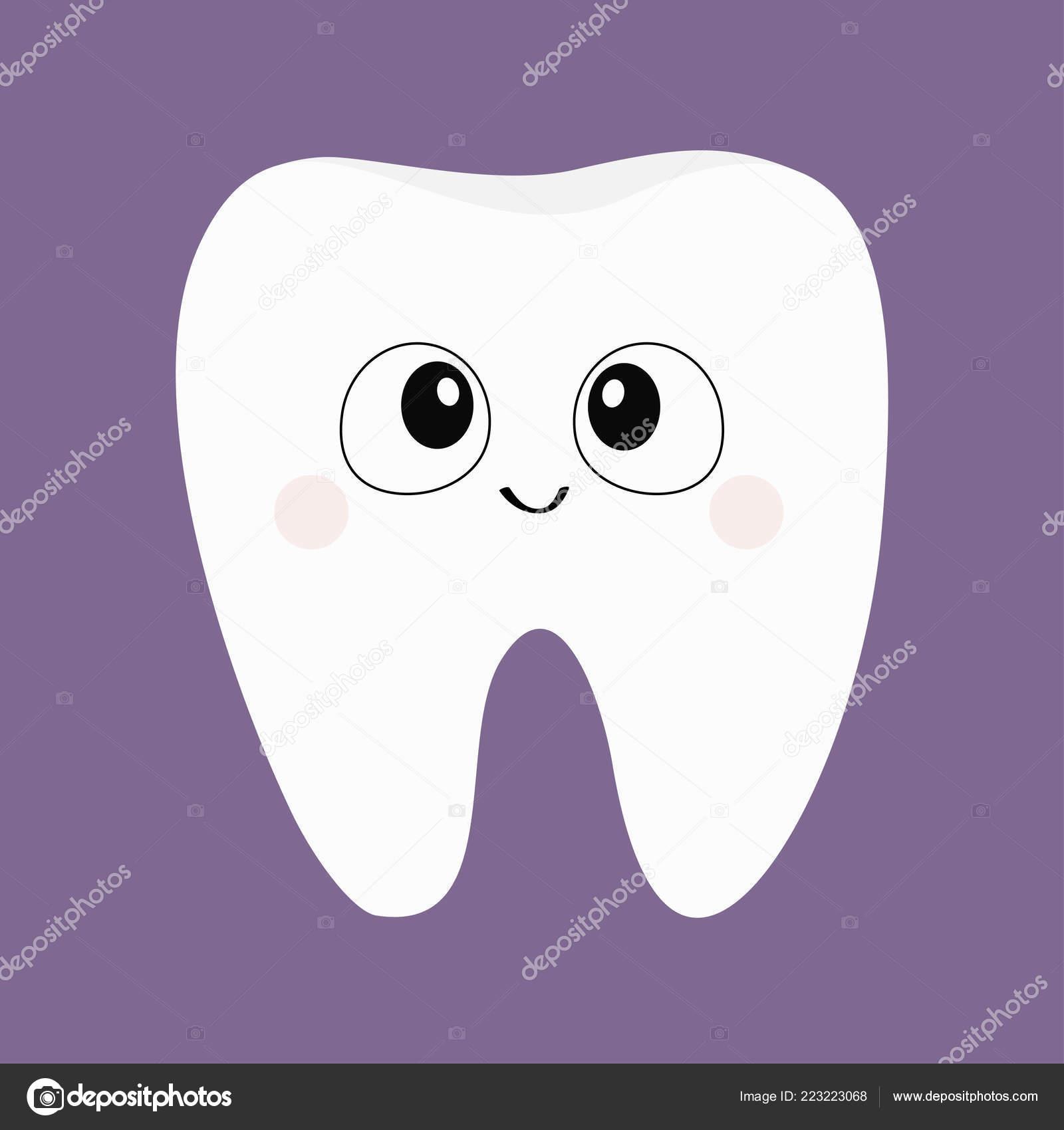 Zahn Symbol Große Augen Niedlichen Lustige Cartoon Charakter