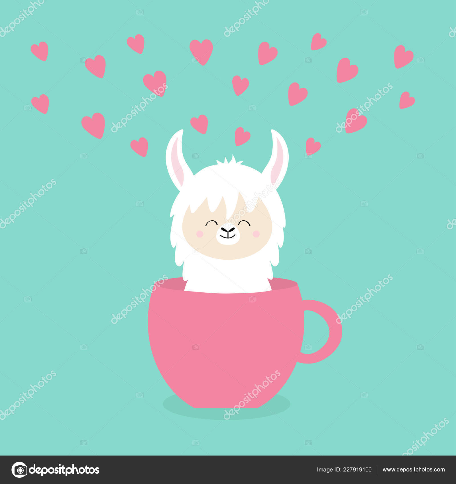 Alpaca Llama Sitting Coffee Cup Teacup Pink Hearts Happy Valentines