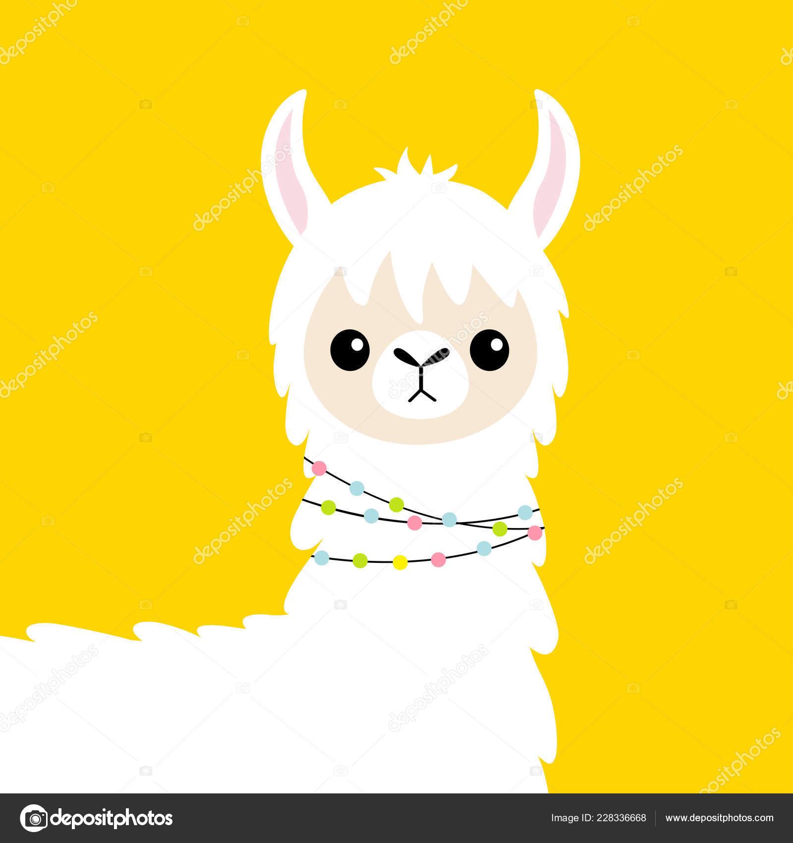 llama alpaca head baby face cute cartoon funny kawaii smiling